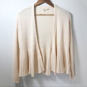 ANTHROPOLOGIE Moth Cashmere Knit Peplum Cardigan